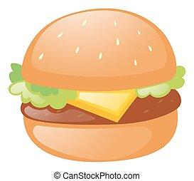 fromage, hamburger, viande