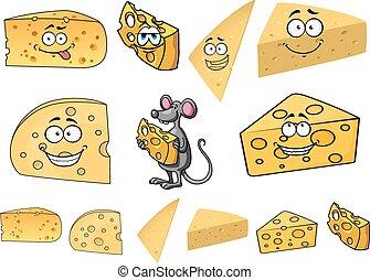 fromage, heureux, souris, dessin animé, coins