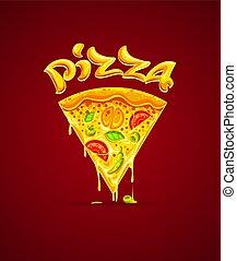 fromage, illustration., vecteur, italien, mozzarelle, pizza