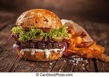 fromage, maison, hamburger, salade verte, fait