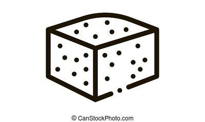 fromage, morceau, bleu, animation, icône