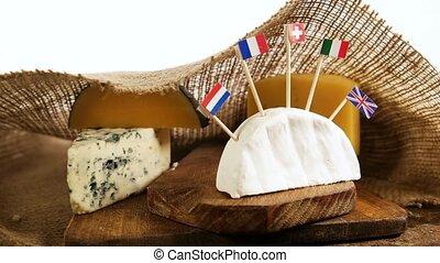 fromage, morceaux, drapeaux, européen, pays