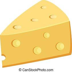 fromage, nourriture, trous, poreux, jaune, vecteur, illustration, morceau
