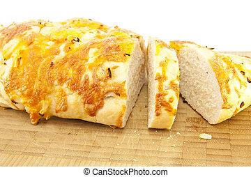 fromage, oignon, bois, planche découper, pain