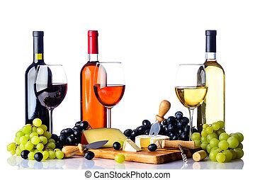 fromage, raisins blancs, vin
