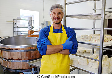 fromage, sien, cheesemaker, usine, caillé, confection, beau