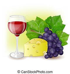 fromage, verre vin