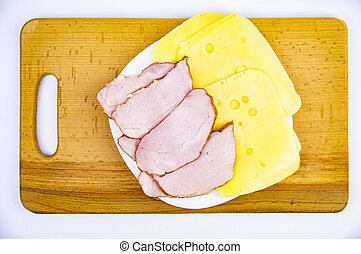fromage, viande, bois, dur, coupé, découpage, board.