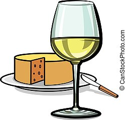 fromage, vin blanc