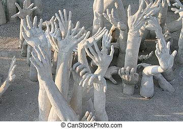 frome, hölle, skulptur, hände