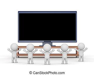 fromt, televize dávat si pozor, velký, fandění, osoby, hd, 3