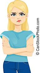 froncer sourcils, offensé, girl, adolescent