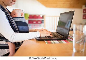 fronde, fils, cahier, unrecognizable, mère, écriture