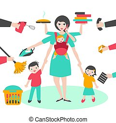 fronde, fonctionnement, femme affaires, yin, multitask, coocking, bab, repassage, mère, woman., enfants, calling.