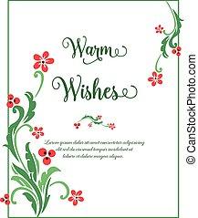 frondoso, auguri, ornamento, verde, riscaldare, fiore, sagoma, vettore, frame., bellezza
