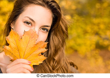 frondoso, outono, beleza