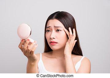front, acné, femme, conclusion, elle