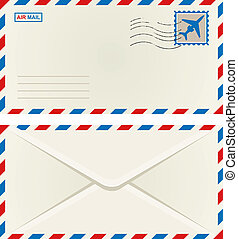Front and back of an unaddressed airmail envelope with an aeroplane postage stamp and postage cancellation, vector illustration isolated on white