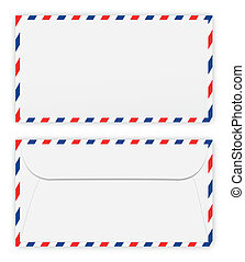 Front and back of envelope on white