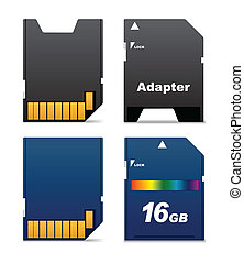 digital card and adapter - Front and back sides of digital...
