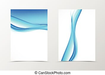 Front and back smooth wave flyer template design. Abstract...