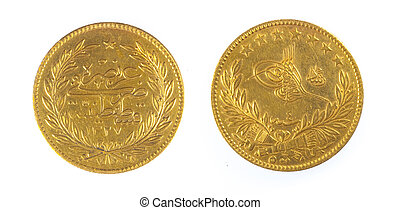Front and back view of ancient ottoman coin Turkey