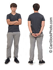 front and back view of same teenage boy with sportswear on white