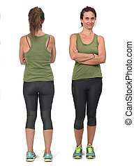 front and back view of same woman with sportswear on white