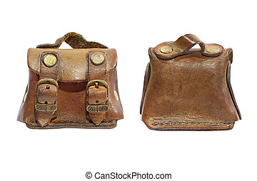 Front and back view of vintage leather toy bag. Isolated.