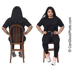 front and back view woman with sportswear on white background