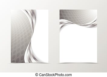 Front and back wave flyer template design. Abstract template...