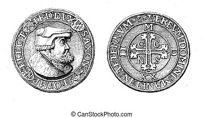 Front and rear of a medal-like thaler (1522) of Frederick...