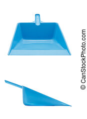 Front and side view blue plastic dustpan isolated on white background