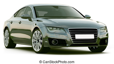 Front Angle of black sedan on a white background