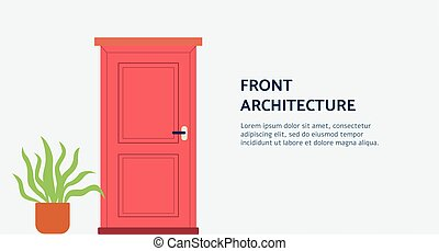 Front architecture doorway in banner for home staging flat ...