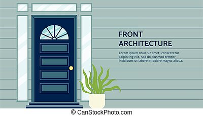 Front architecture header and doorway banner template flat ...