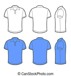 Front, back and side views of blank polo - Front, back and...