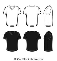 Front, back and side views of white and black blank t-shirt
