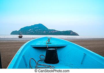 Front boat sea mountain landscape