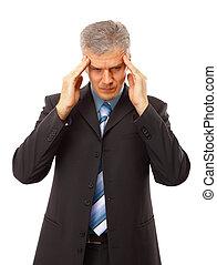 front, business, sur, isolé, main, blanc, dépression, homme