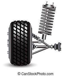 Front car suspension, frontal view. Vector Illustration