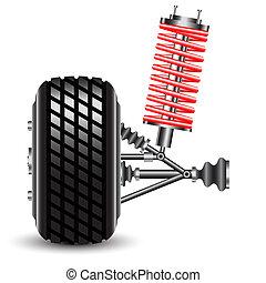 Front car suspension. Vector Illustration