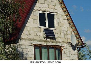 front, cegła, okna, szary, dom