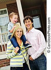 front, daheim, familie, glücklich
