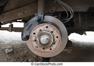 Front disk brake on a old car