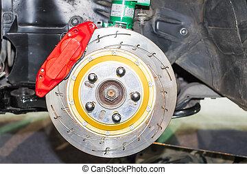 Front disk brakes system - Front disk brake system on car in...