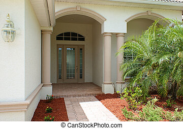 front door and entry to house - Walkway and front door to...