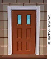 Cartoon illustration of the classic front door. & Cartoon front door. Illustration of a cartoon front door inside ...