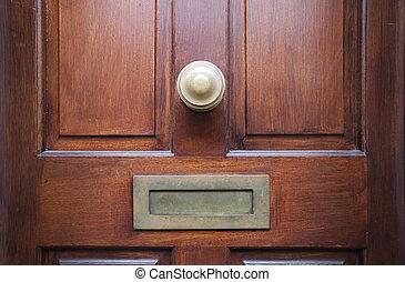 Close-up of Brown Elegant Front Door.