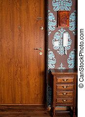 Front Door - Front door of modern retro design home indoor...